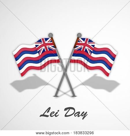 Illustration of Hawaii country flags with lei day text