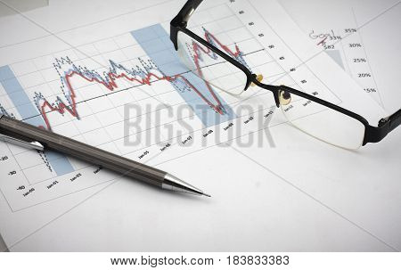 Glasses And Pencil:analysis Charts And Graphs Of Sales -successful Corporate Business
