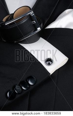 Scarf belt cufflinks tie butterfly necessary set of accessories for tuxedo
