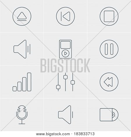 Vector Illustration Of 12 Music Icons. Editable Pack Of Preceding, Acoustic, Mike And Other Elements.