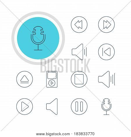 Vector Illustration Of 12 Melody Icons. Editable Pack Of Audio, Advanced, Preceding And Other Elements.