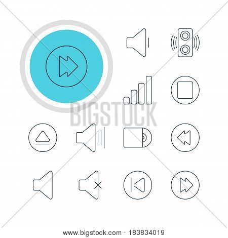 Vector Illustration Of 12 Melody Icons. Editable Pack Of Preceding, Amplifier, Speaker And Other Elements.