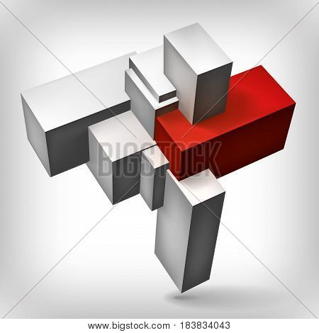 Volume geometric shape, 3d gray cubes with red insert, abstraction group object, vector design form