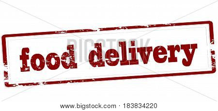Stamp with text food delivery inside vector illustration