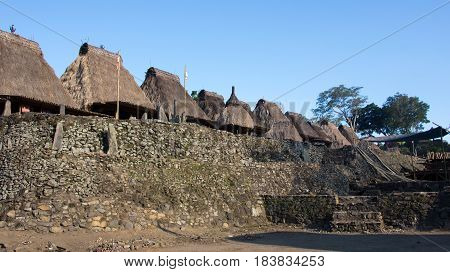 Grass rooftops at Bena a traditional village with grass huts of Ngada people in Flores near Bajawa Indonesia.