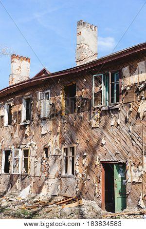 Facade of an old building intended for demolition, Abandoned housing, After natural disasters or war