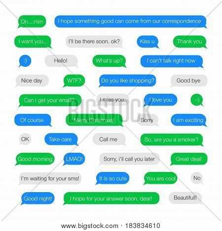 Sms bubbles. Template for messenger with short phrases words in English. Vector illustration