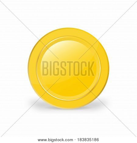 Realistic Gold Coin. 3D, Vector Illustration