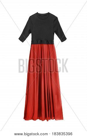 Combined maxi dress with red chiffon skirt isolated over white