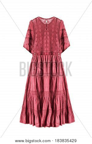 Lacy ethnic pink embroidered dress isolated over white