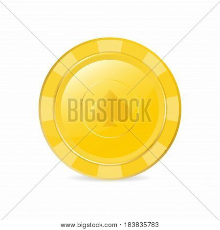 Golden gambling chip with spade suit. Realistic chip vector illustration for website brochure logo ui in applications