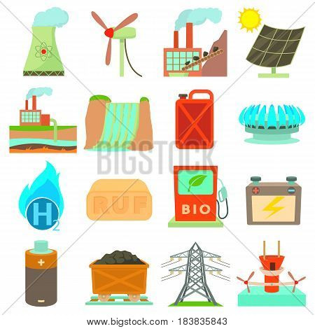 Energy sources icons set. Cartoon illustration of 16 energy sources vector icons for web