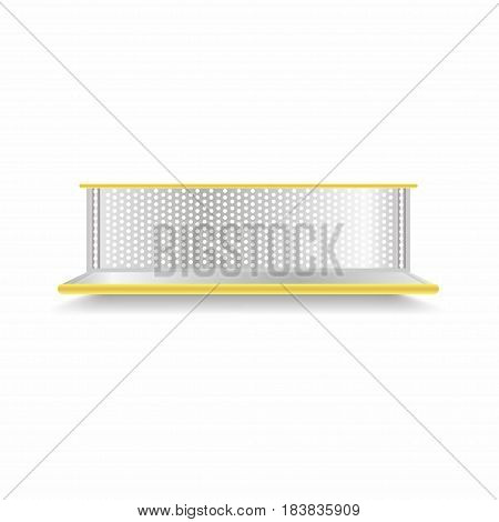 Empty Supermarket Shelf. Realistic Vector Showcase With Yellow Backlight
