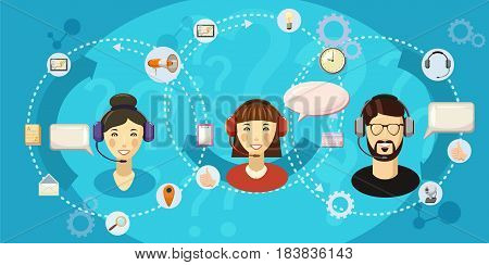 Call center touch horizontal concept. Cartoon illustration of call center touch banner horizontal vector for web