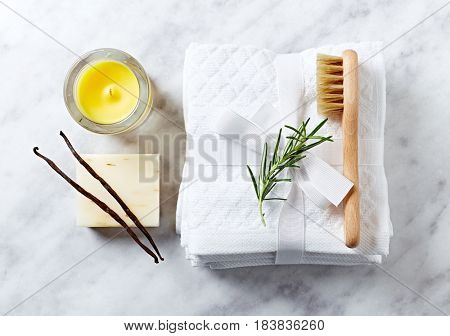 Natural body care and aromatherapy products on marble background