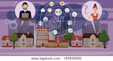 Call center town horizontal concept. Cartoon illustration of call center town banner horizontal vector for web
