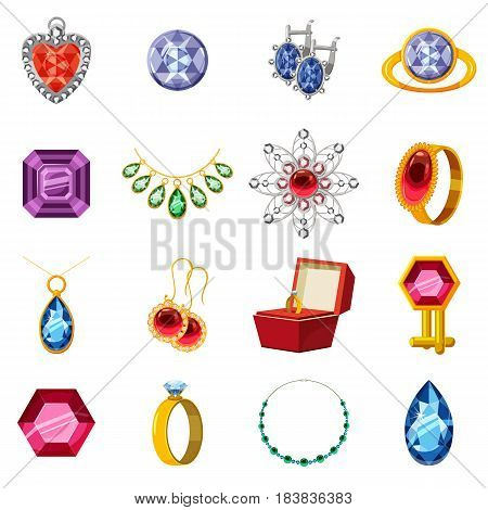 Jewelry collection icons set. Cartoon illustration of 16 jewelry collection items vector icons for web