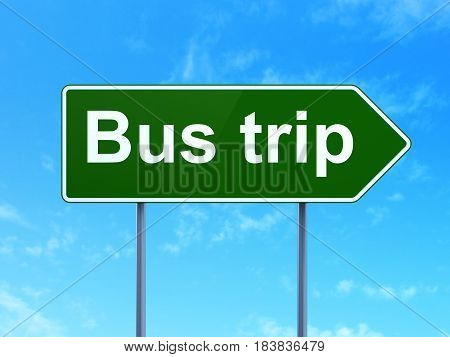 Travel concept: Bus Trip on green road highway sign, clear blue sky background, 3D rendering
