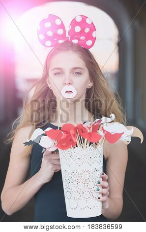 Funny Pretty Girl With Cute Mouse Ears And White Lips