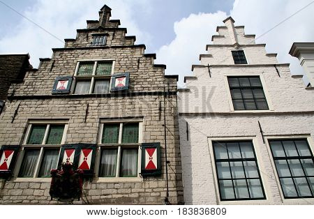 Netherlands zeeland Goes july 2016: crow-stepped gables