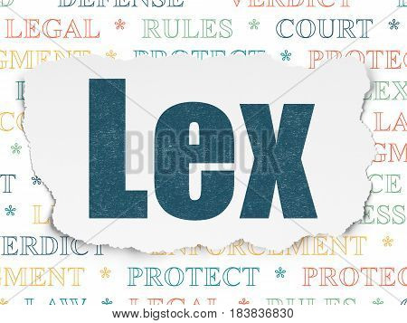 Law concept: Painted blue text Lex on Torn Paper background with  Tag Cloud