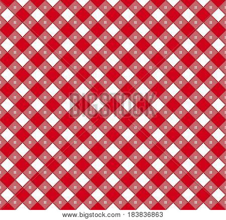 Gingham and Buffalo Check Plaid pattern. Tablecloth fabric texture stamp for apparel gift wrapping paper sleepwear pillow shirt and other textile products. Vector illustration
