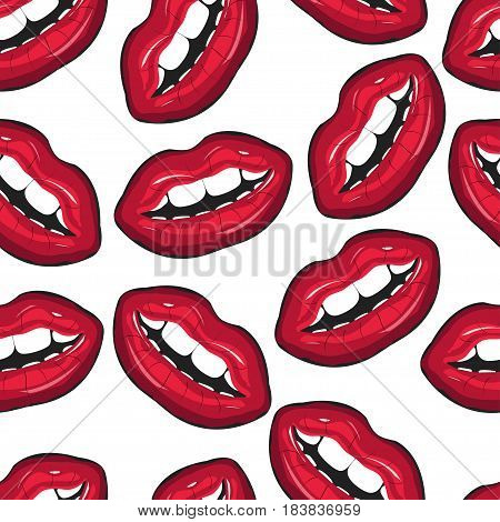 Red female lips closeup. Seamless pattern. Mouth with a teeth and lips. Vector illustration for accessories clothes textile decor and other.