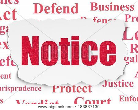 Law concept: Painted red text Notice on Torn Paper background with  Tag Cloud