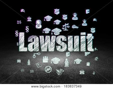 Law concept: Glowing text Lawsuit,  Hand Drawn Law Icons in grunge dark room with Dirty Floor, black background
