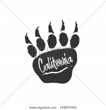 Californian bear paw print. Bear footprint with lettering and scratch. Stamp for apparel t-shirt textile. Vector illustration