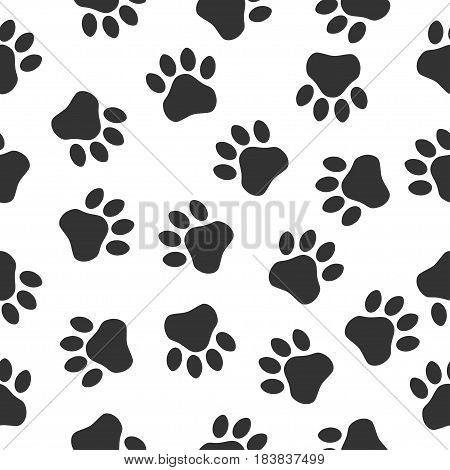 Paws print seampless pattern. Simple monochrome pets footprints. Stamp for apparel t-shirt textile. Vector illustration