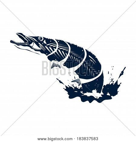 Pike is jumping from water. Monochrome vector illustration. You can use it for creating logos badges emblems for fishing clubs fishing games.
