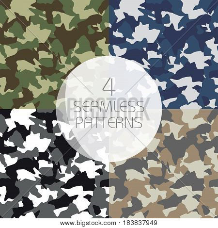 Camouflage seamless patterns set. Green brown olive colors forest texture navy winter military colors. Vector illustration