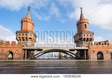The Oberbaumbruecke bridge in Berlin city Germany.