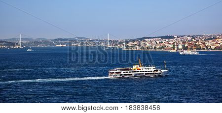 View on Bosphorus. Bosporus forms part of the boundary between Europe and Asia and connects the Black Sea with the Sea of Marmara