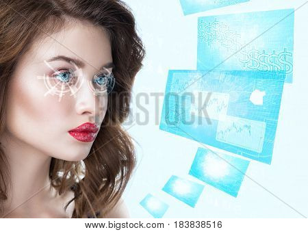 Young woman looking with futuristic smart glasses. Fashionable Beautiful and attractive brunette girl with red lipstick from future in process of scanning an exchange statistics. Virtual hologram on her high tech eyes