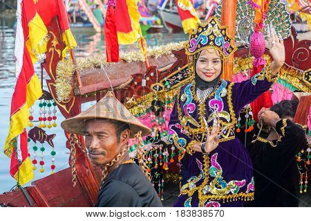 Semporna,Sabah-Apr 22,2017:Sea Bajau people of Semporna,Sabah,Borneo in traditional costume during Regata Lepa Lepa in Semporna,Sabah,Borneo.Lepa means Boat in the dialect of east coast Sea Bajau people