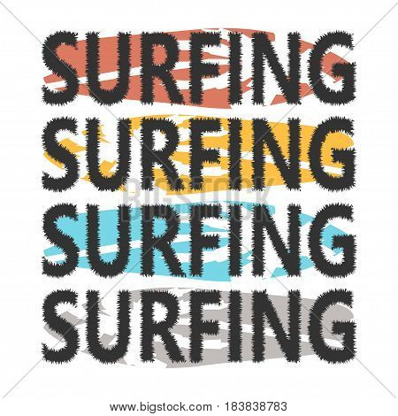 Colorful Surfboards With Lettering Surfing. Surfboards With Palms On Background. Typography For T-sh