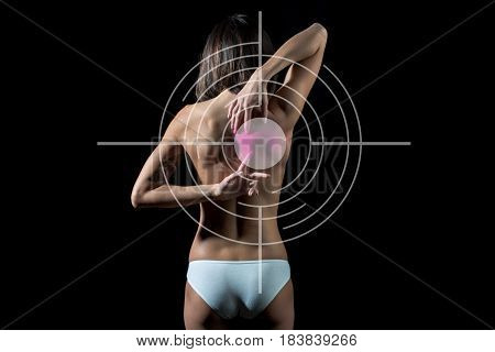 Backache Of Young Woman Suffering From Pain, Health Resolution Concept