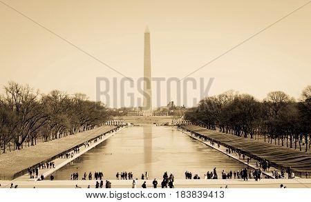 Washington Monument with Reflection Pool Landscape in Washington D.C.