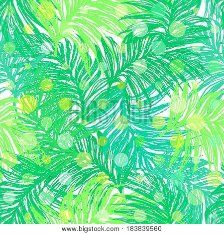 Jungle Day. Ink hand drawn seamless pattern with bright sunlit jungle leaves. For textile wallpaper wrapping web backgrounds and other pattern fills