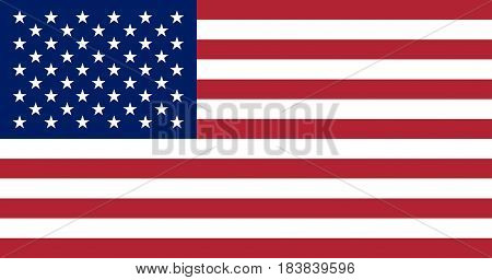 USA flag. United States of America national symbol. 13 stripes and 50 stars. Vector