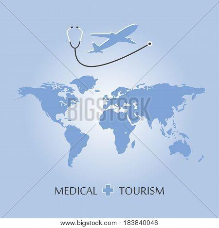 Medical Tourism and healthcare background. Vector illustration flat design