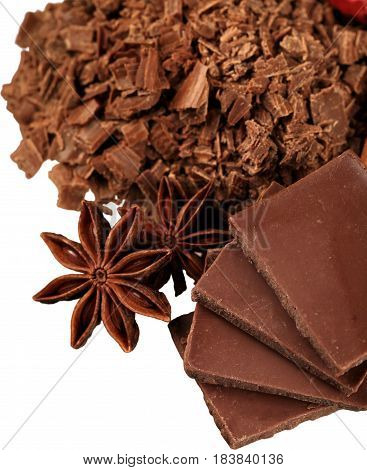 Grated Chocolate with Anise and Chocolate Blocks - Isolated