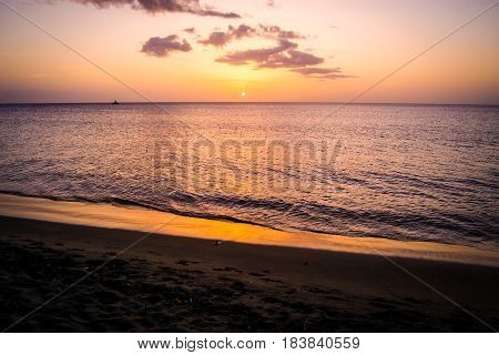 Dominica Beach Landscape at Sunset in the Caribbean