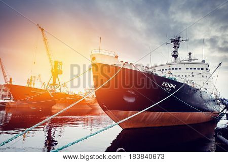 MURMANSK, RUSSIA- APRIL 2, 2017: Lenin is a Soviet nuclear-powered icebreaker. Launched in 1957, it was both the world's first nuclear-powered surface ship