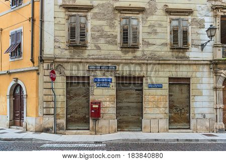 Gorizia, Nova Gorica - May of 2015, Veneto region, Italy Old Post office building kiosk, Il Piccolo, Corriere della Sera, Messagero Veneto - newspapers