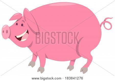 Cartoon Illustration of Pink Pig Farm Animal Character