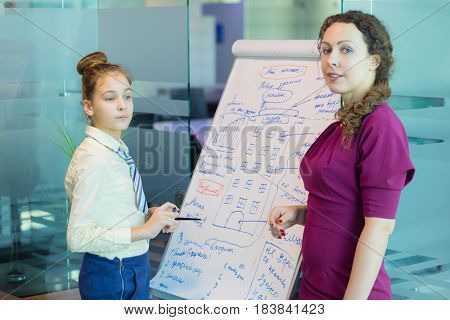 Girl shows project on paper, Woman stands near she, Text translation - new building in Moscow, child dream, pool, kindergarten, Inexpensive, convenient, Focus on child