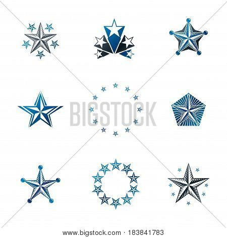 Ancient Stars Emblems Set. Heraldic Vector Design Elements Collection. Retro Style Label, Heraldry L